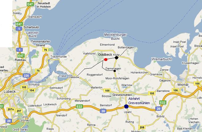 Boltenhagen Ostsee Karte.Anreise Zum Ferienhaus Bei Boltenhagen An Der Ostsee